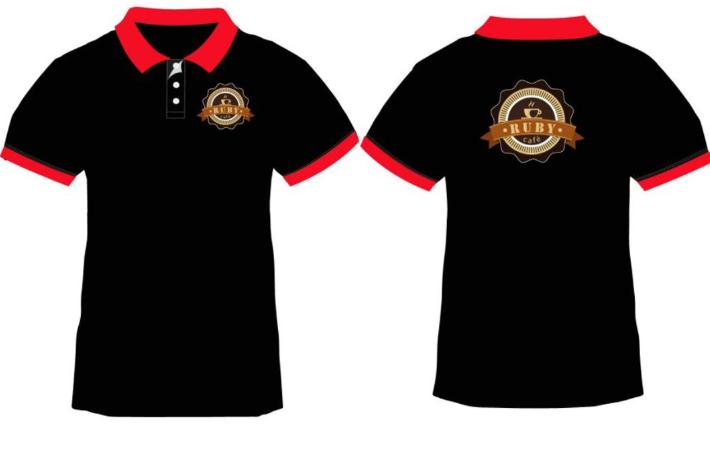 Áo phông có cổ kết hợp hai màu đen và đỏ