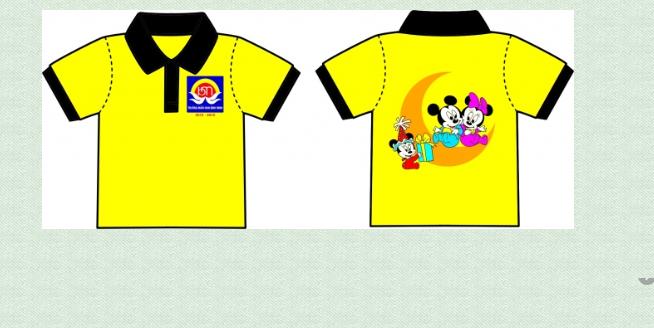 Mẫu đồng phục cho trẻ màu vàng áo hình ảnh Mickey, quần short